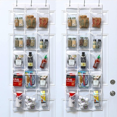 SimpleHouseware Crystal Clear Over the Door Hanging Pantry Organizer (2 Pack)