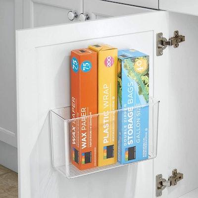 mDesign Plastic Adhesive Storage Organizer Container
