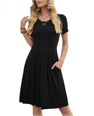 DouBCQ Pleated Dresses with Pockets