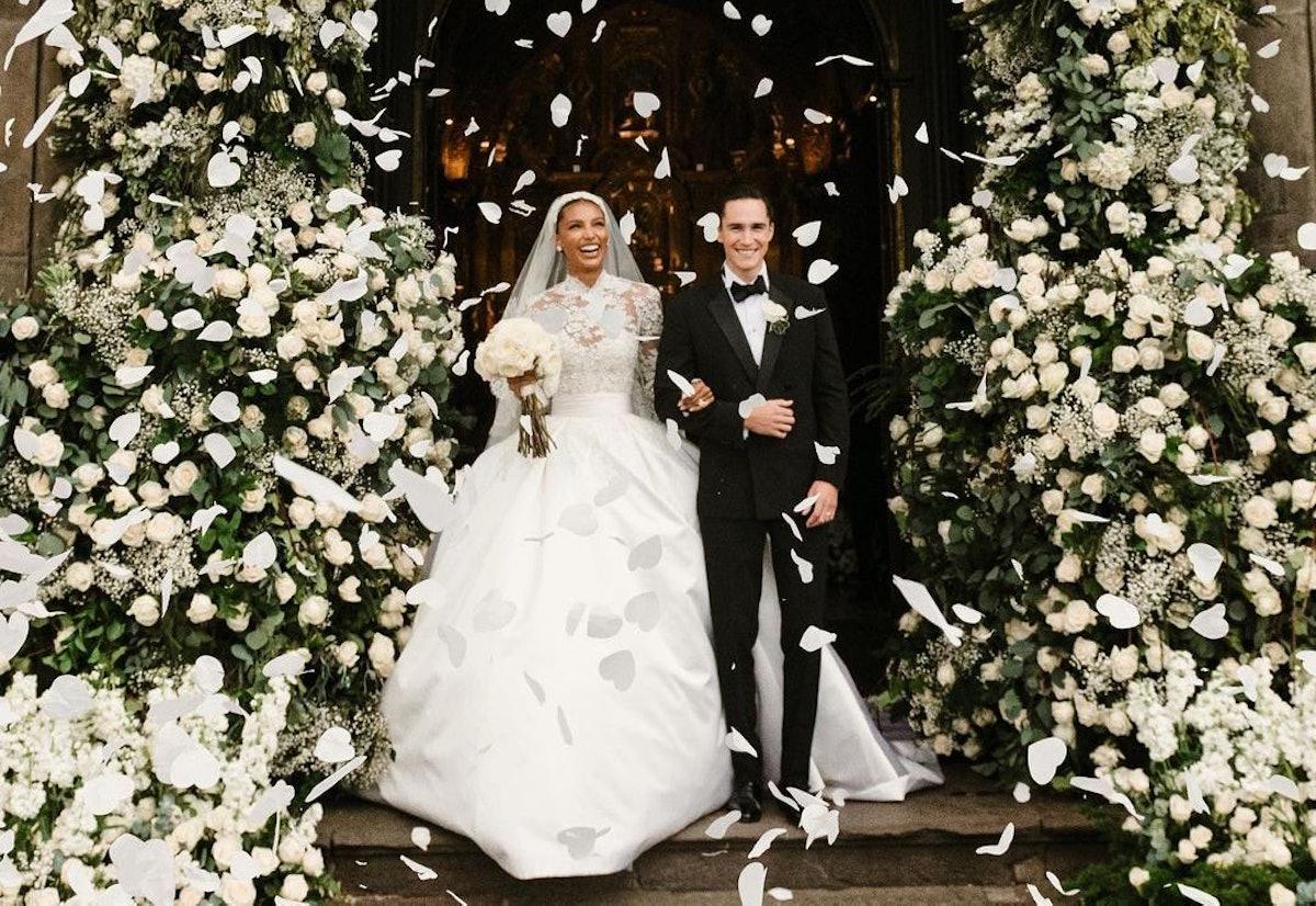 Jasmine Tookes and Juan David Borrero on their wedding day