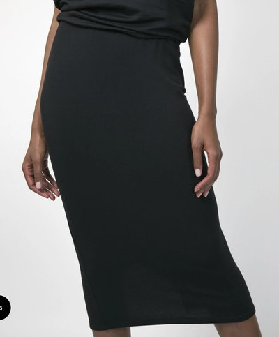 Black midi skirt from sustainable brand, Taylor Jay