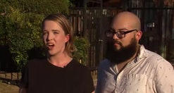A Texas couple said they were forced to leave a bar and grill after they refused to take of their fa...
