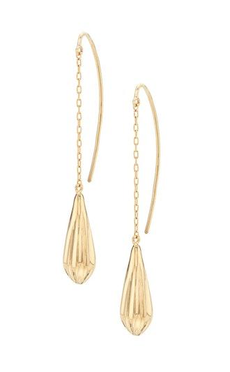 Shujaa gold drop teardrop-shaped earrings.