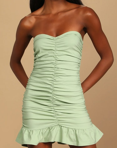 Strapless Ruched Bodycon Mini Dress