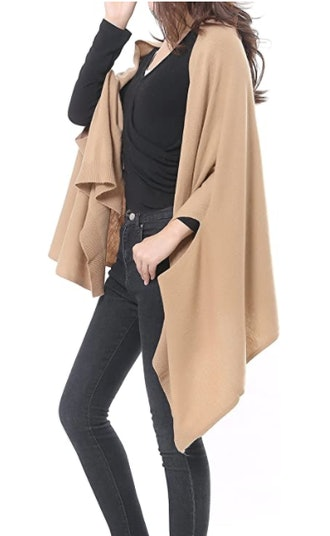 Bruceriver Wool Blended Poncho Wrap