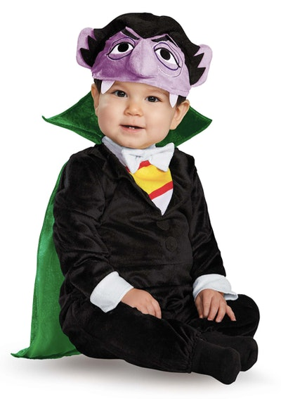 Baby wearing Count Von Count costume