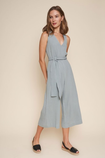 light blue jumpsuit from sustainable brand, Whimsy And Row