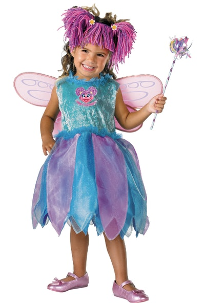 Toddler wearing an Abby Cadabby costume