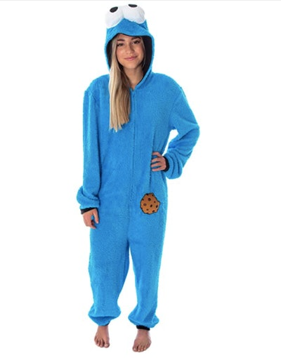 Woman wearing Cookie Monster costume