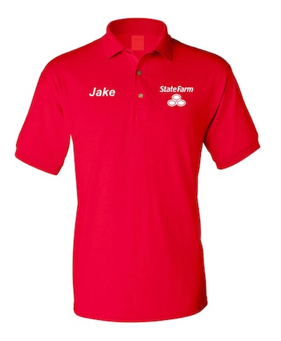"""A red """"Jake from State Farm"""" polo shirt is one funny Halloween costume for men."""