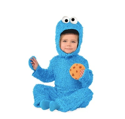 Baby wearing Cookie Monster costume