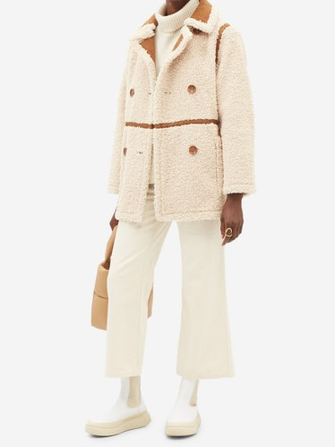 Chloe Double-Breasted Faux-Shearling Coat