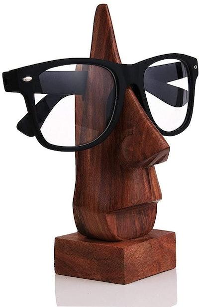 NIRMAN 6 Inch Wooden Nose Shaped Eyeglass Holder/Display