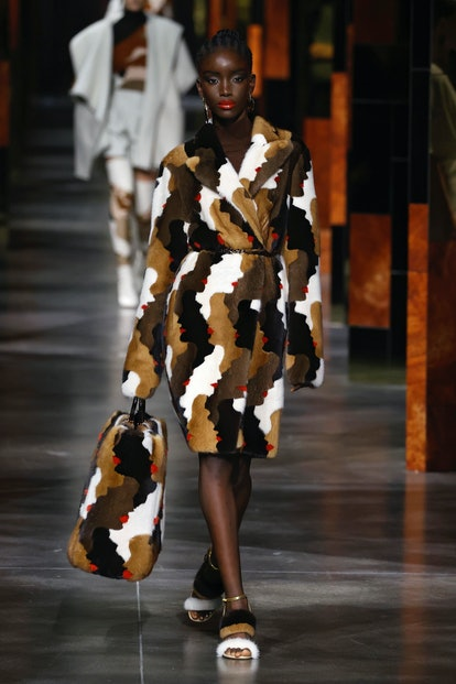 A model walks the runway during the Fendi fashion show during Milan Women's Fashion Week Spring/Sum...