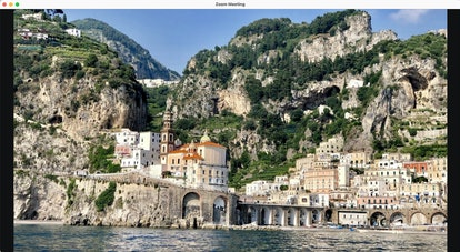 The beach Zoom background features the Amalfi Coast in Italy.