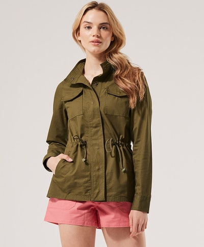 green field jacket from sustainable brand, Pact
