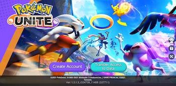 Pokémon Unite title screen mobile