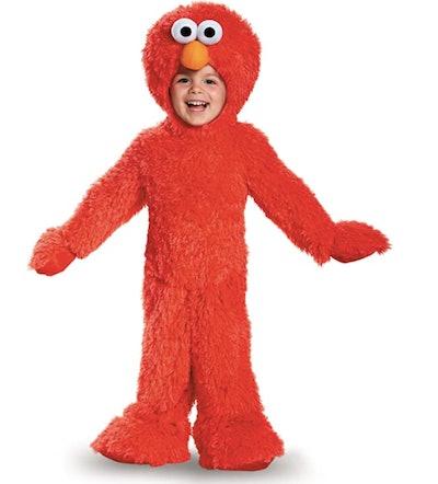 Toddler wearing an Elmo costume