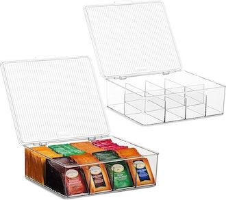 Large Stackable Plastic Tea Bag Organizer (2-Pack)
