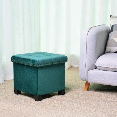 KINWELL Storage Velvet Cube Footstool