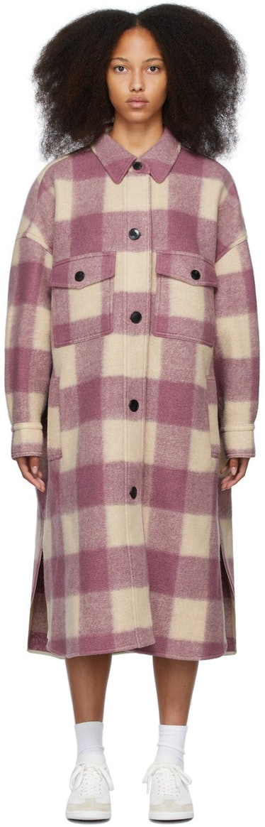 Beige & Pink Check Fontizi Coat