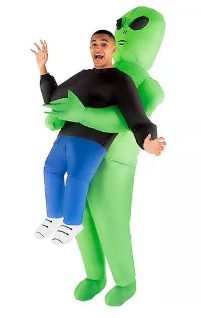 This funny inflatable Halloween costume for men makes it look like an alien is picking up the wearer...