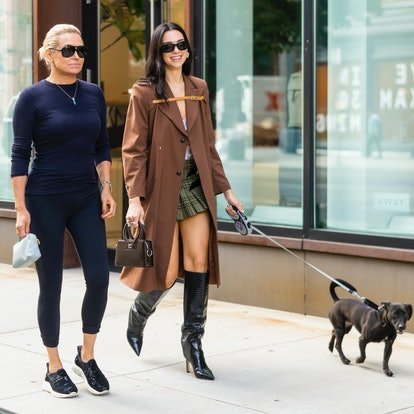 Yolanda Hadid (L) and Dua Lipa are seen in NoHo on September 21, 2021 in New York City.