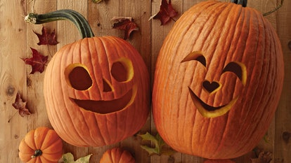 These Halloween Zoom backgrounds include smiling Jack 'O Lanterns.