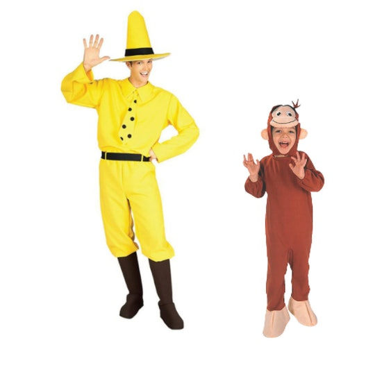 man in the yellow hat costume for adults and curious george costume for children