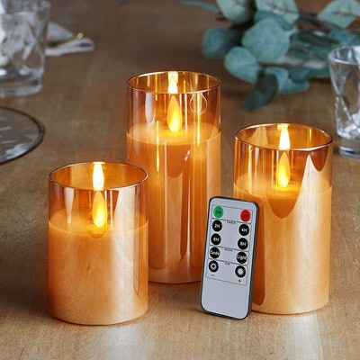 5plots Gold Glass Flickering Flameless Candles (Set of 3)