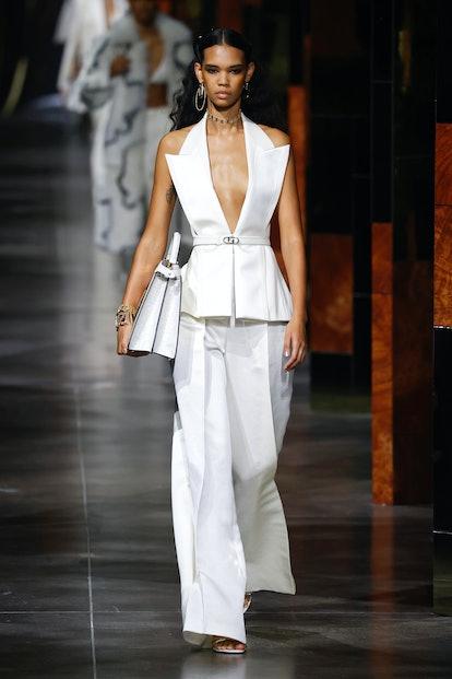 A model walks the runway during the Fendi fashion show during Milan Women's Fashion Week Spring/Summ...