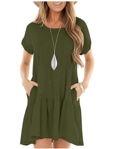 Berryou Short Sleeve Swing T-Shirt Dress
