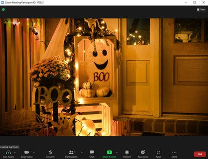 These Halloween backgrounds for Zoom include a ghostly room design.