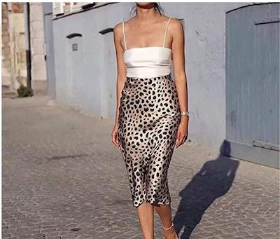 Soowalaoo High Waist Leopard Midi Skirt