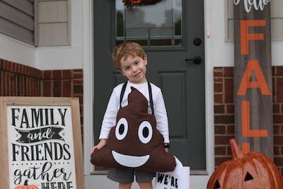 poop emoji Halloween costume with straps and treat bag