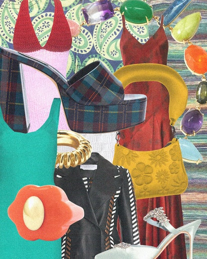 a colorful collage of shoes, bags, jewelry and clothing designed by hispanic and latino designers