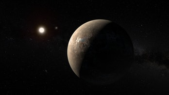 Artist's impression of Proxima Centauri with its nearby planet.