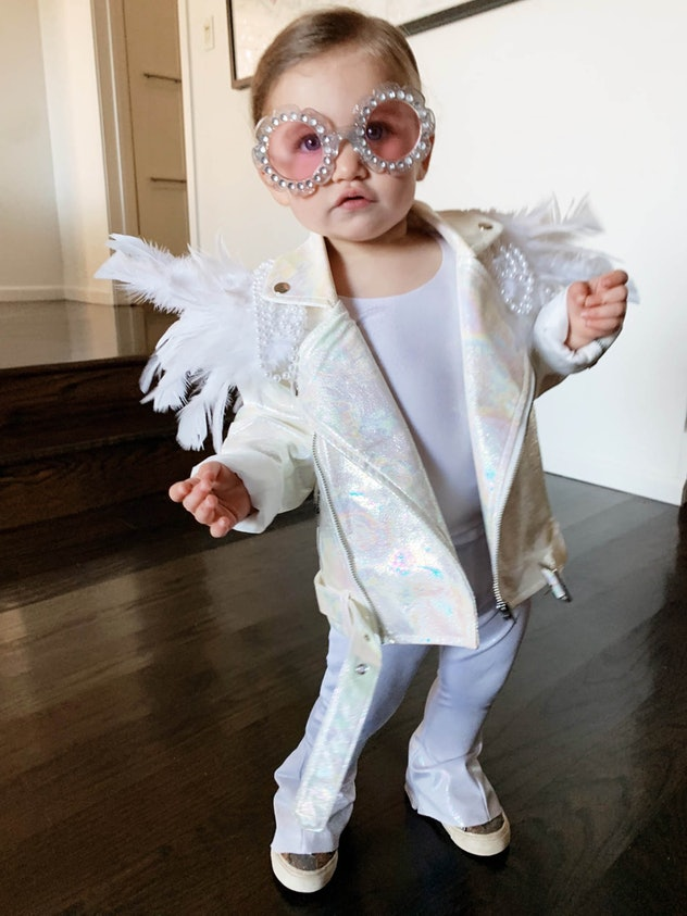 Toddler Halloween costume, all white outfit with white sueded jacket and fun sunglasses