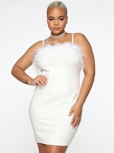 Plus Size Sling Feather Dress