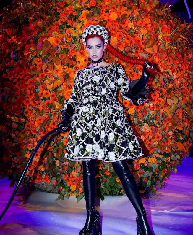 Abby Roberts at the Richard Quinn Spring 2022 show during London Fashion Week.