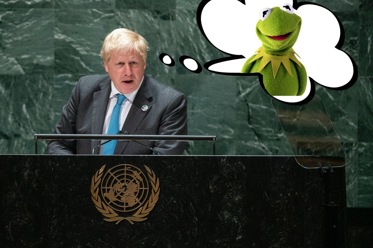 Boris Johnson standing at United Nations podium with a thought bubble of Kermit the Frog.