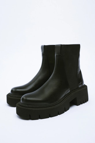 Leather Ankle Boots With Lug Sole Zara