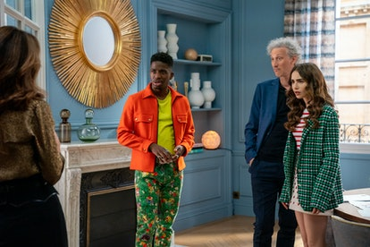 Lily Collins as Emily Cooper, Bruno Gouery as Luc, Samuel Arnold as Julien in 'Emily In Paris' Seaso...