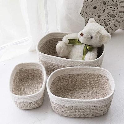 La Jolie Muse 12-Inch Cotton Rope Storage Baskets (Set of 3)