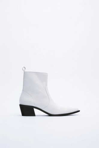 Leather Cowboy Ankle Boots Zara