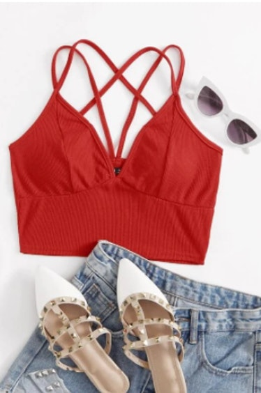 SHEIN Caged Back Ribbed Bralette Top