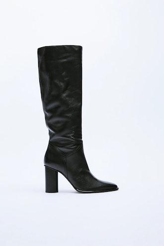 High-Heeled Leather Boots Zara
