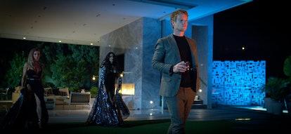 Sydney Sweeney as Eva, Megan Fox as Grace and Alfie Allen as Victor in 'Night Teeth'