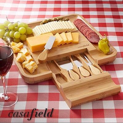 Casafield Bamboo Cutting Board & Knife Set