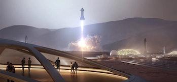 Artist's impression of the Starship landing on Mars.